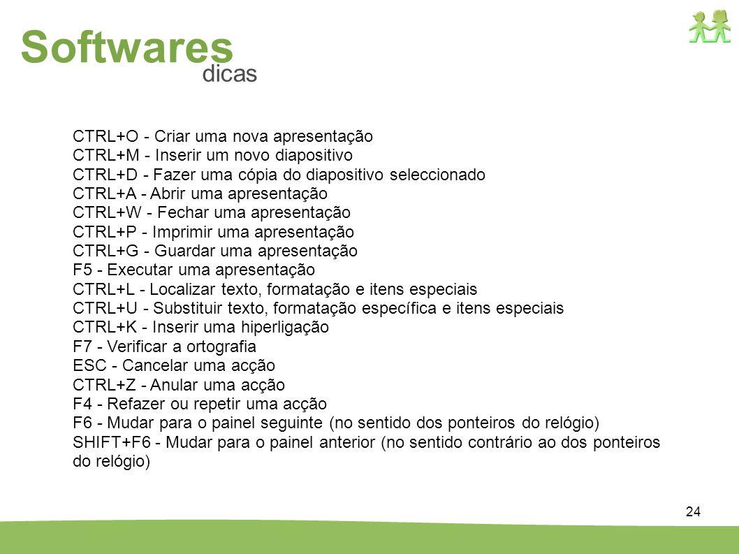 24 CTRL+O - Criar uma nova apresentação CTRL+M - Inserir um novo diapositivo CTRL+D - Fazer uma cópia do diapositivo seleccionado CTRL+A - Abrir uma a