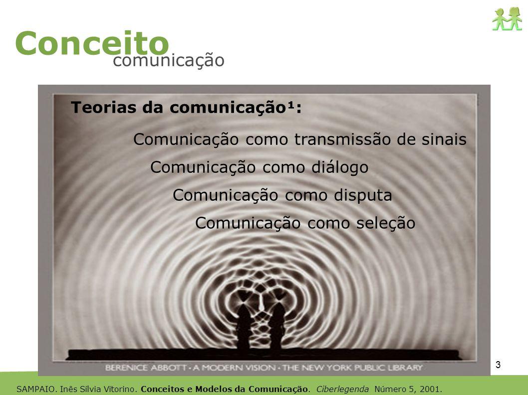 3 Conceito comunicação Teorias da comunicação¹: Comunicação como transmissão de sinais Comunicação como diálogo Comunicação como disputa Comunicação c