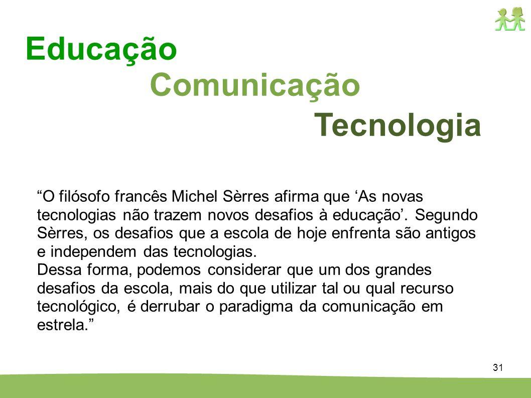 31 Comunicação Tecnologia Educação O filósofo francês Michel Sèrres afirma que As novas tecnologias não trazem novos desafios à educação. Segundo Sèrr