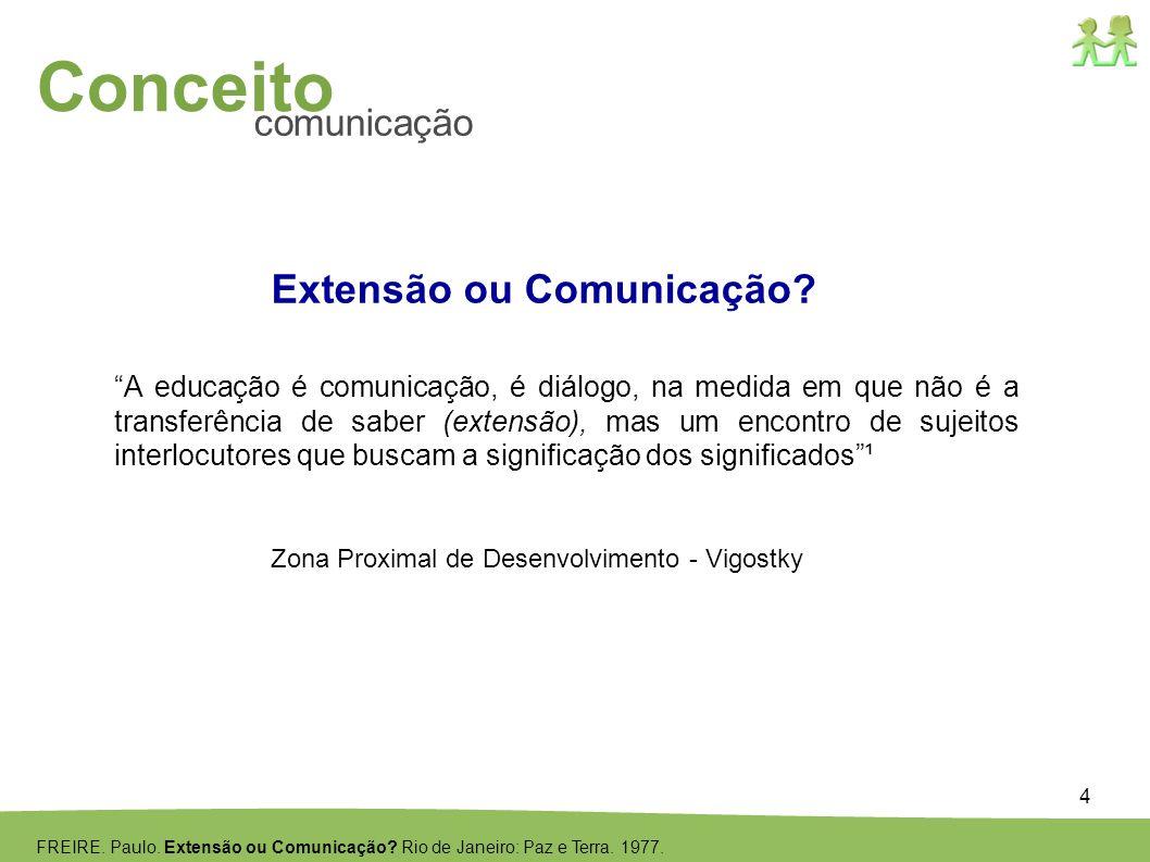 4 Conceito comunicação Extensão ou Comunicação? A educação é comunicação, é diálogo, na medida em que não é a transferência de saber (extensão), mas u