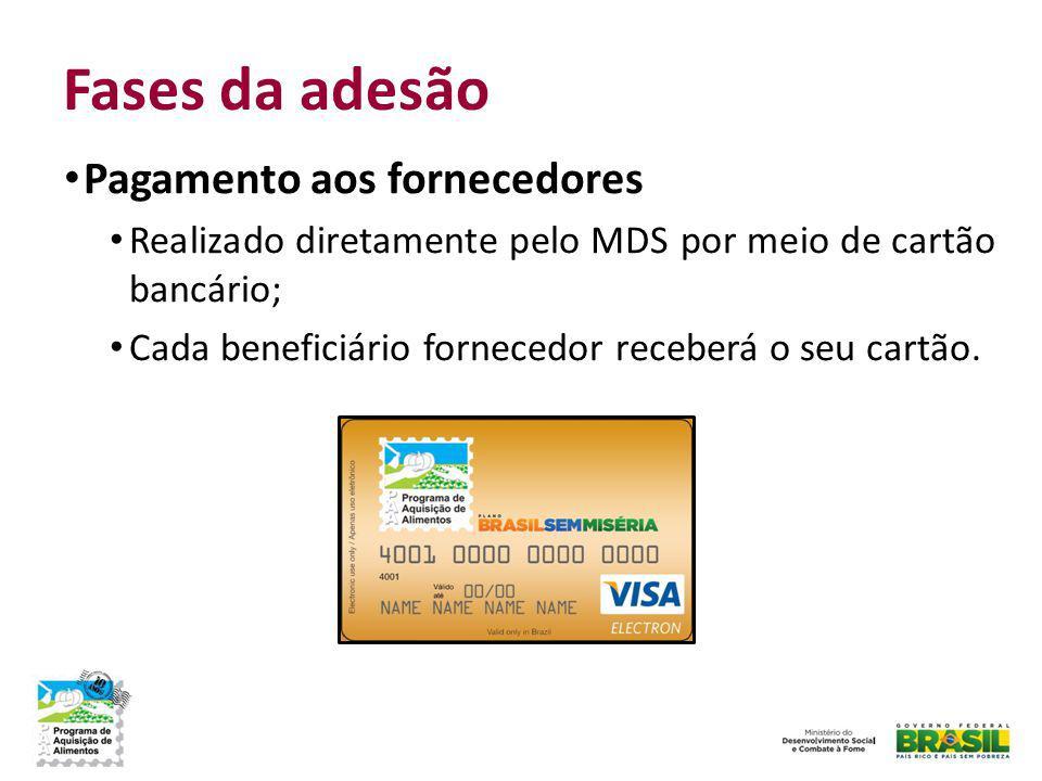 Fases da adesão Pagamento aos fornecedores Realizado diretamente pelo MDS por meio de cartão bancário; Cada beneficiário fornecedor receberá o seu car