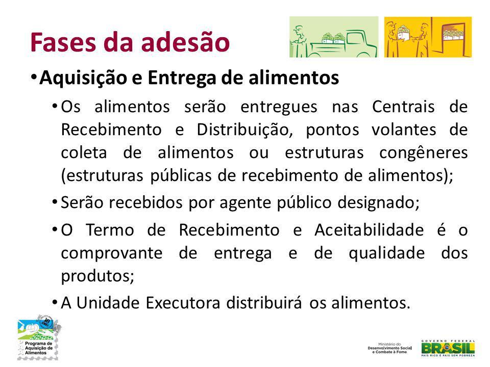 Fases da adesão Aquisição e Entrega de alimentos Os alimentos serão entregues nas Centrais de Recebimento e Distribuição, pontos volantes de coleta de