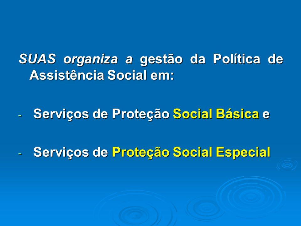 SUAS organiza a gestão da Política de Assistência Social em: - Serviços de Proteção Social Básica e - Serviços de Proteção Social Especial