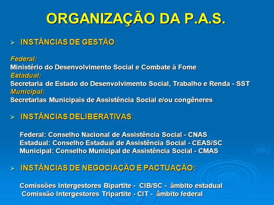 ORGANIZAÇÃO DA P.A.S. INSTÂNCIAS DE GESTÃO : INSTÂNCIAS DE GESTÃO :Federal: Ministério do Desenvolvimento Social e Combate à Fome Estadual: Secretaria