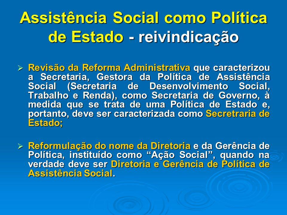 Assistência Social como Política de Estado - reivindicação Revisão da Reforma Administrativa que caracterizou a Secretaria, Gestora da Política de Ass