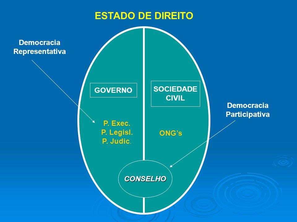 GOVERNO SOCIEDADE CIVIL P. Exec. P. Legisl. P. Judic. ONGs Democracia Representativa ESTADO DE DIREITO Democracia Participativa CONSELHO