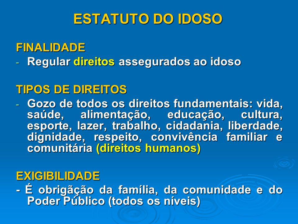 ESTATUTO DO IDOSO FINALIDADE - Regular direitos assegurados ao idoso TIPOS DE DIREITOS - Gozo de todos os direitos fundamentais: vida, saúde, alimentação, educação, cultura, esporte, lazer, trabalho, cidadania, liberdade, dignidade, respeito, convivência familiar e comunitária (direitos humanos) EXIGIBILIDADE - É obrigãção da família, da comunidade e do Poder Público (todos os níveis)