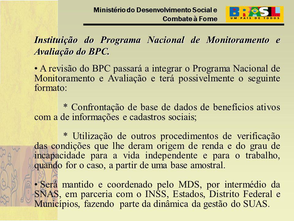 Ministério do Desenvolvimento Social e Combate à Fome Instituição do Programa Nacional de Monitoramento e Avaliação do BPC. A revisão do BPC passará a