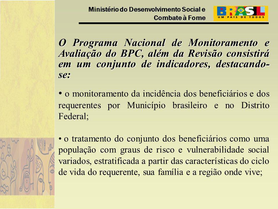 Ministério do Desenvolvimento Social e Combate à Fome O Programa Nacional de Monitoramento e Avaliação do BPC, além da Revisão consistirá em um conjun
