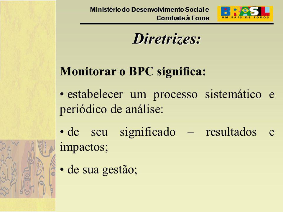 Ministério do Desenvolvimento Social e Combate à Fome Diretrizes: Monitorar o BPC significa: estabelecer um processo sistemático e periódico de análise: de seu significado – resultados e impactos; de sua gestão;