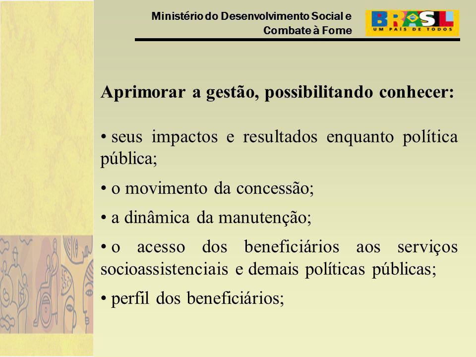 Ministério do Desenvolvimento Social e Combate à Fome Aprimorar a gestão, possibilitando conhecer: seus impactos e resultados enquanto política públic