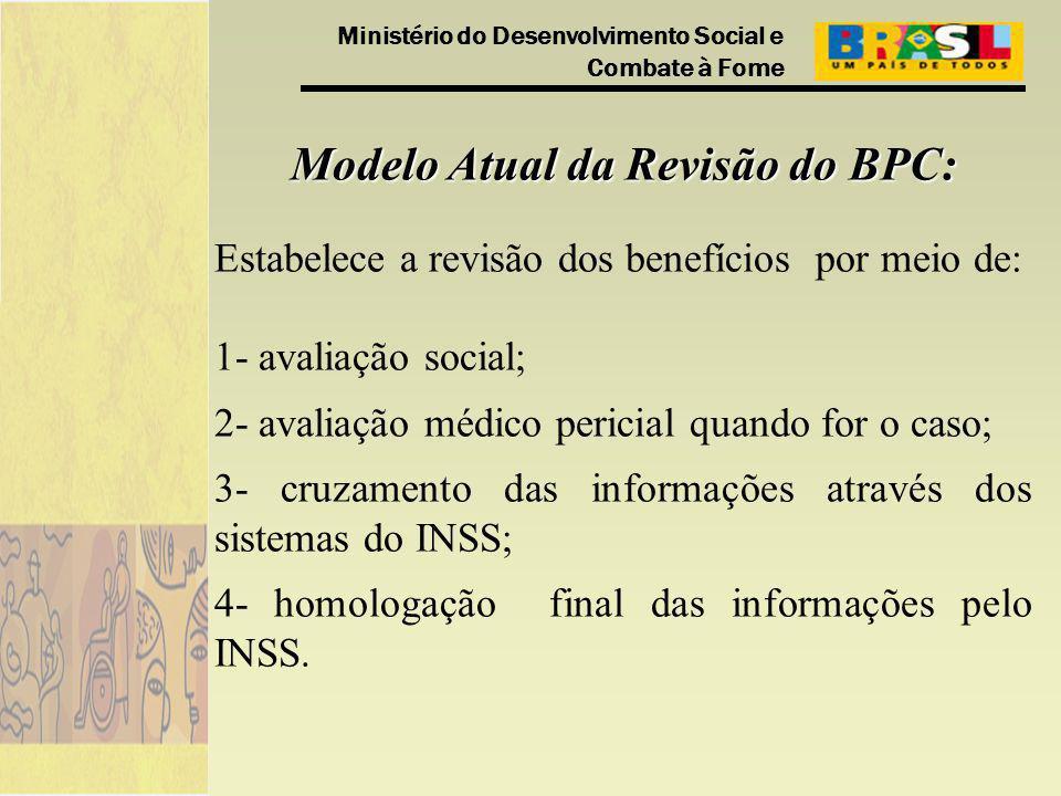 Ministério do Desenvolvimento Social e Combate à Fome Modelo Atual da Revisão do BPC: Estabelece a revisão dos benefícios por meio de: 1- avaliação so