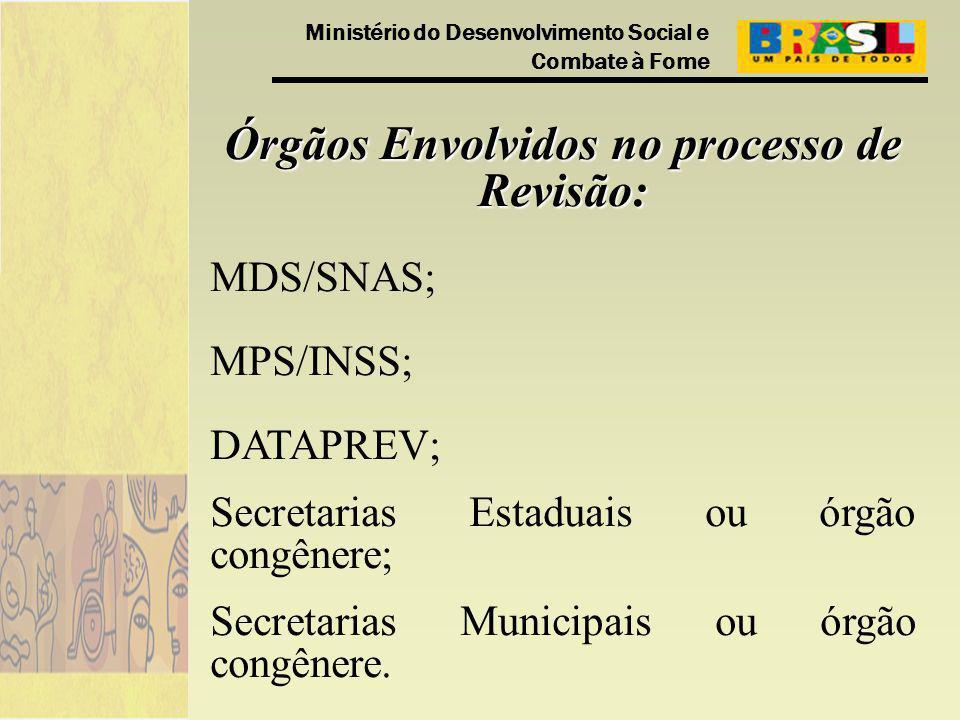 Ministério do Desenvolvimento Social e Combate à Fome Órgãos Envolvidos no processo de Revisão: MDS/SNAS; MPS/INSS; DATAPREV; Secretarias Estaduais ou