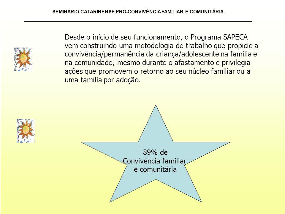 SEMINÁRIO CATARINENSE PRÓ-CONVIVÊNCIA FAMILIAR E COMUNITÁRIA Desde o início de seu funcionamento, o Programa SAPECA vem construindo uma metodologia de
