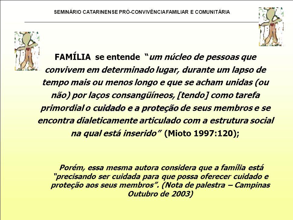 SEMINÁRIO CATARINENSE PRÓ-CONVIVÊNCIA FAMILIAR E COMUNITÁRIA cuidado e a proteção FAMÍLIA se entende um núcleo de pessoas que convivem em determinado