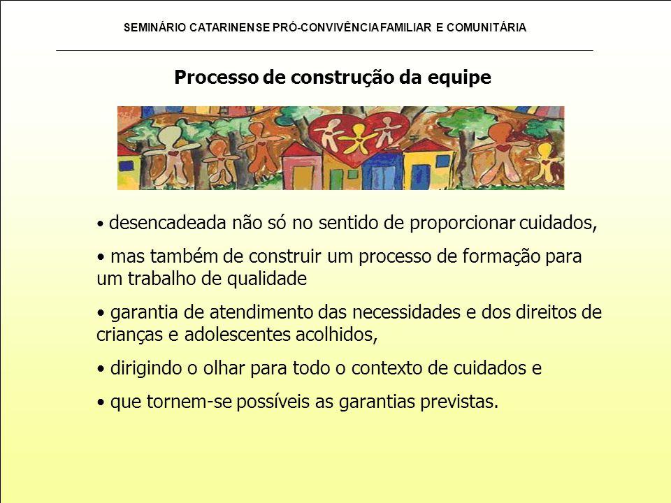 SEMINÁRIO CATARINENSE PRÓ-CONVIVÊNCIA FAMILIAR E COMUNITÁRIA desencadeada não só no sentido de proporcionar cuidados, mas também de construir um proce