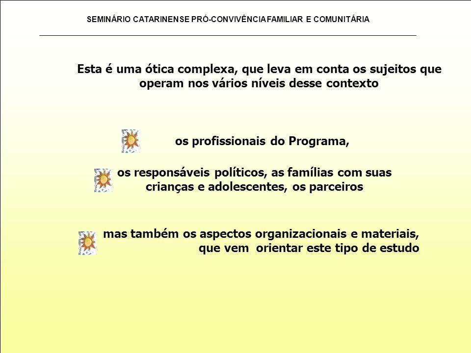SEMINÁRIO CATARINENSE PRÓ-CONVIVÊNCIA FAMILIAR E COMUNITÁRIA mas também os aspectos organizacionais e materiais, que vem orientar este tipo de estudo