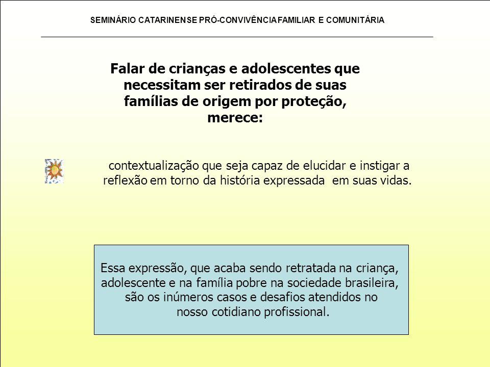 SEMINÁRIO CATARINENSE PRÓ-CONVIVÊNCIA FAMILIAR E COMUNITÁRIA contextualização que seja capaz de elucidar e instigar a reflexão em torno da história ex
