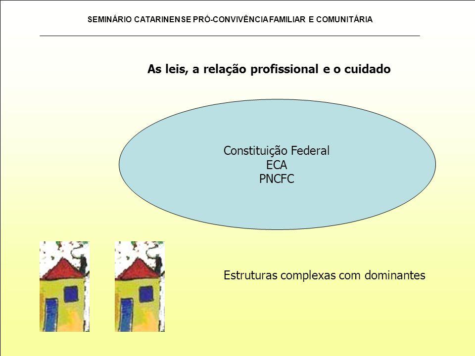 SEMINÁRIO CATARINENSE PRÓ-CONVIVÊNCIA FAMILIAR E COMUNITÁRIA Constituição Federal ECA PNCFC Estruturas complexas com dominantes As leis, a relação pro