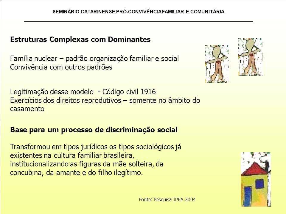 SEMINÁRIO CATARINENSE PRÓ-CONVIVÊNCIA FAMILIAR E COMUNITÁRIA Base para um processo de discriminação social Transformou em tipos jurídicos os tipos soc