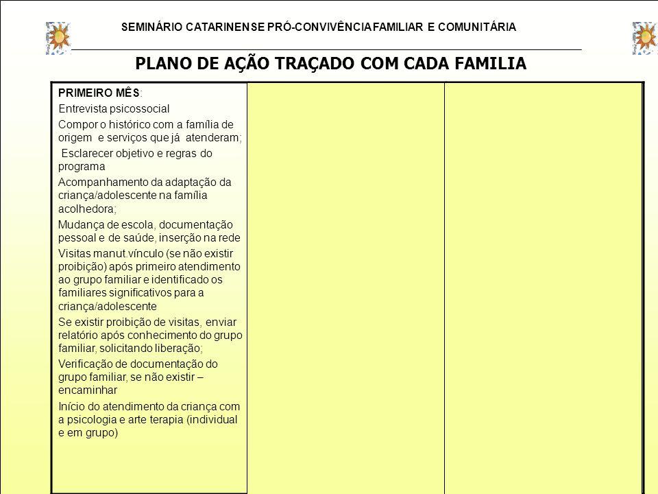 SEMINÁRIO CATARINENSE PRÓ-CONVIVÊNCIA FAMILIAR E COMUNITÁRIA PRIMEIRO MÊS: Entrevista psicossocial Compor o histórico com a família de origem e serviç