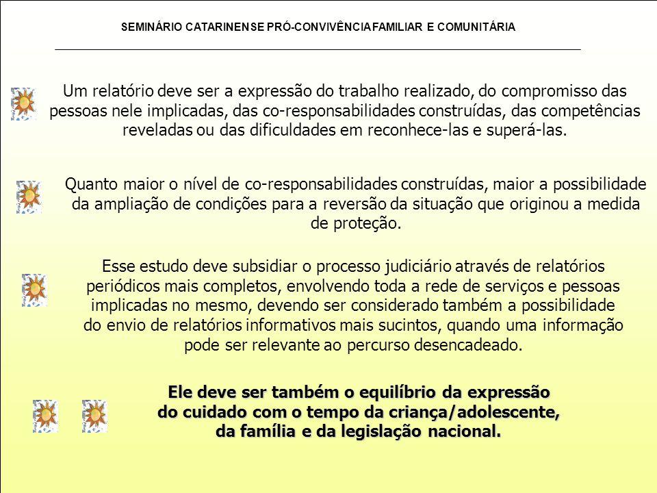 SEMINÁRIO CATARINENSE PRÓ-CONVIVÊNCIA FAMILIAR E COMUNITÁRIA Um relatório deve ser a expressão do trabalho realizado, do compromisso das pessoas nele