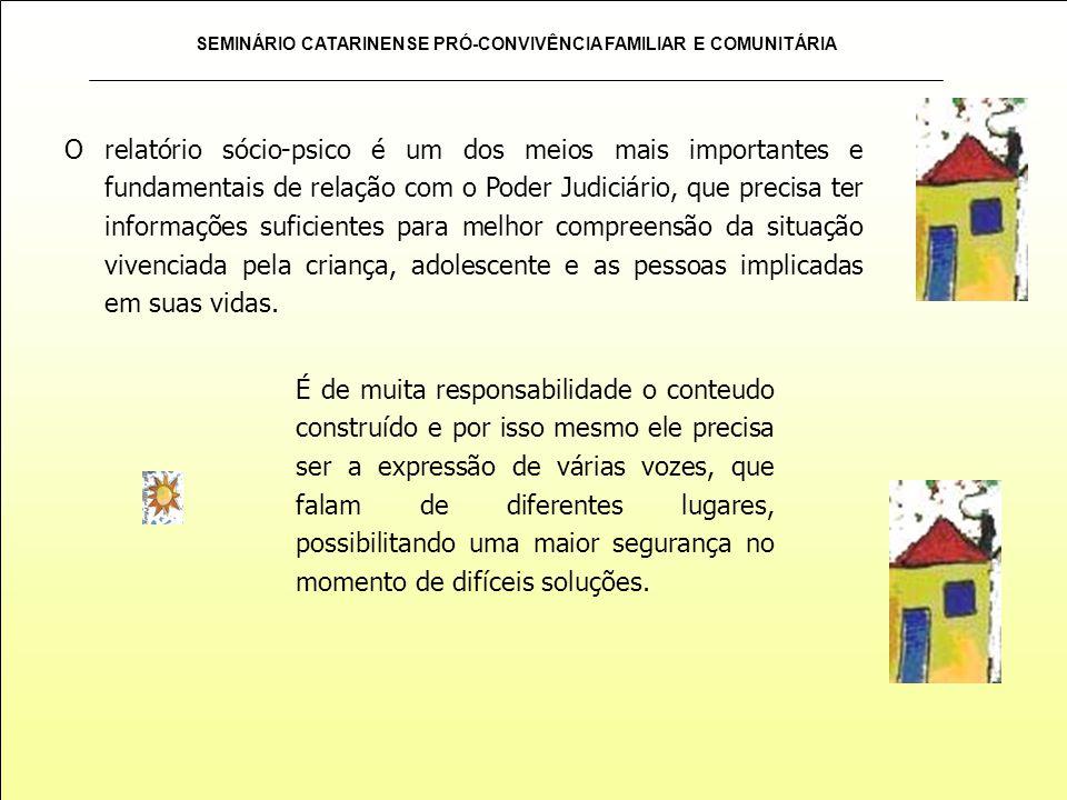 SEMINÁRIO CATARINENSE PRÓ-CONVIVÊNCIA FAMILIAR E COMUNITÁRIA O relatório sócio-psico é um dos meios mais importantes e fundamentais de relação com o P