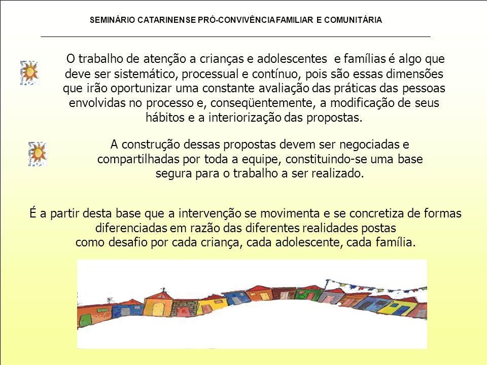 SEMINÁRIO CATARINENSE PRÓ-CONVIVÊNCIA FAMILIAR E COMUNITÁRIA O trabalho de atenção a crianças e adolescentes e famílias é algo que deve ser sistemátic