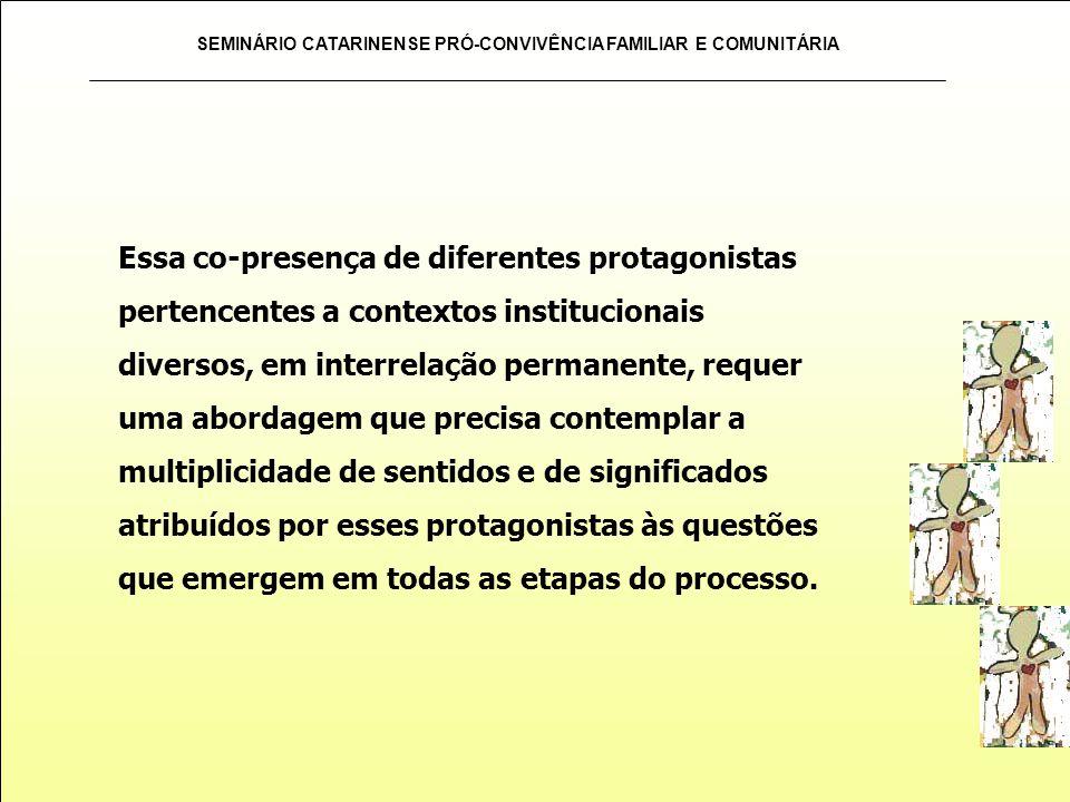 SEMINÁRIO CATARINENSE PRÓ-CONVIVÊNCIA FAMILIAR E COMUNITÁRIA Essa co-presença de diferentes protagonistas pertencentes a contextos institucionais dive