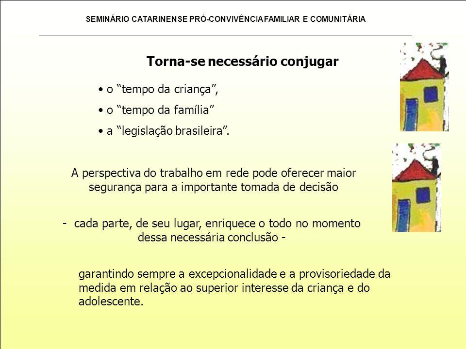 SEMINÁRIO CATARINENSE PRÓ-CONVIVÊNCIA FAMILIAR E COMUNITÁRIA o tempo da criança, o tempo da família a legislação brasileira. Torna-se necessário conju