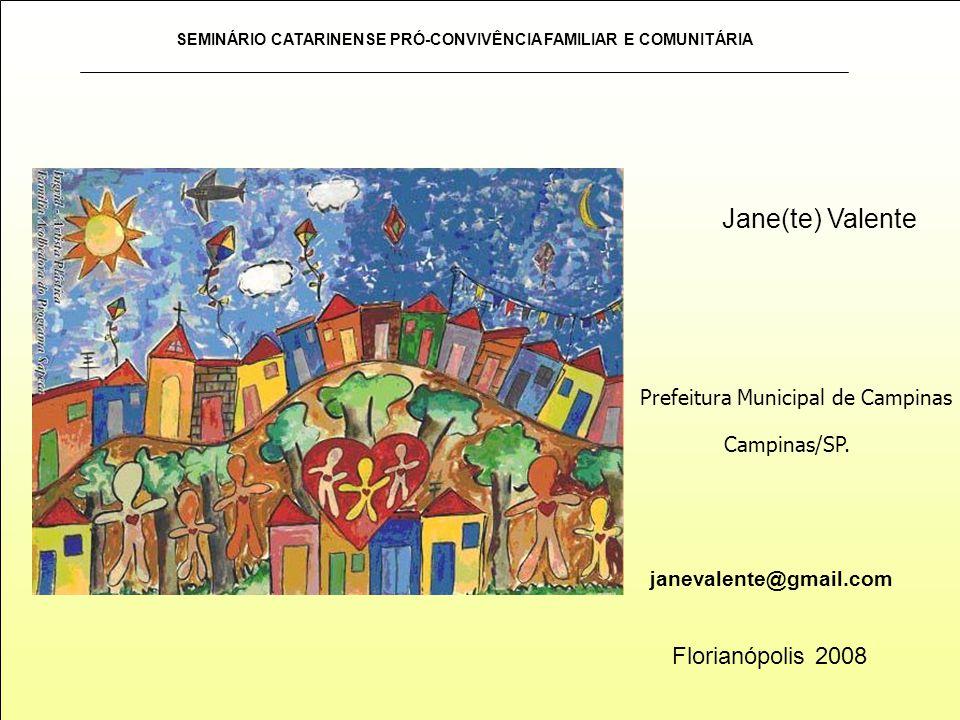 SEMINÁRIO CATARINENSE PRÓ-CONVIVÊNCIA FAMILIAR E COMUNITÁRIA janevalente@gmail.com Jane(te) Valente Florianópolis 2008 Prefeitura Municipal de Campina