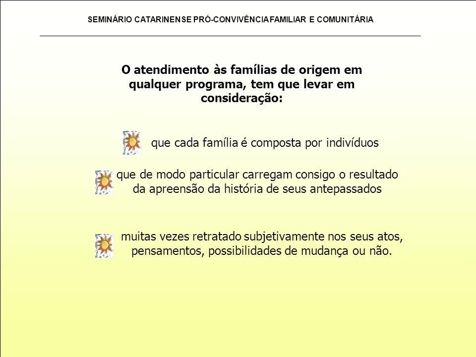 SEMINÁRIO CATARINENSE PRÓ-CONVIVÊNCIA FAMILIAR E COMUNITÁRIA desencadeada não só no sentido de proporcionar cuidados, mas também de construir um processo de formação para um trabalho de qualidade garantia de atendimento das necessidades e dos direitos de crianças e adolescentes acolhidos, dirigindo o olhar para todo o contexto de cuidados e que tornem-se possíveis as garantias previstas.
