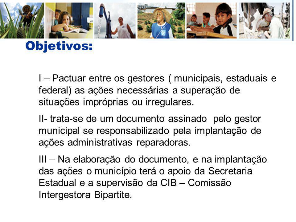Objetivos: I – Pactuar entre os gestores ( municipais, estaduais e federal) as ações necessárias a superação de situações impróprias ou irregulares. I