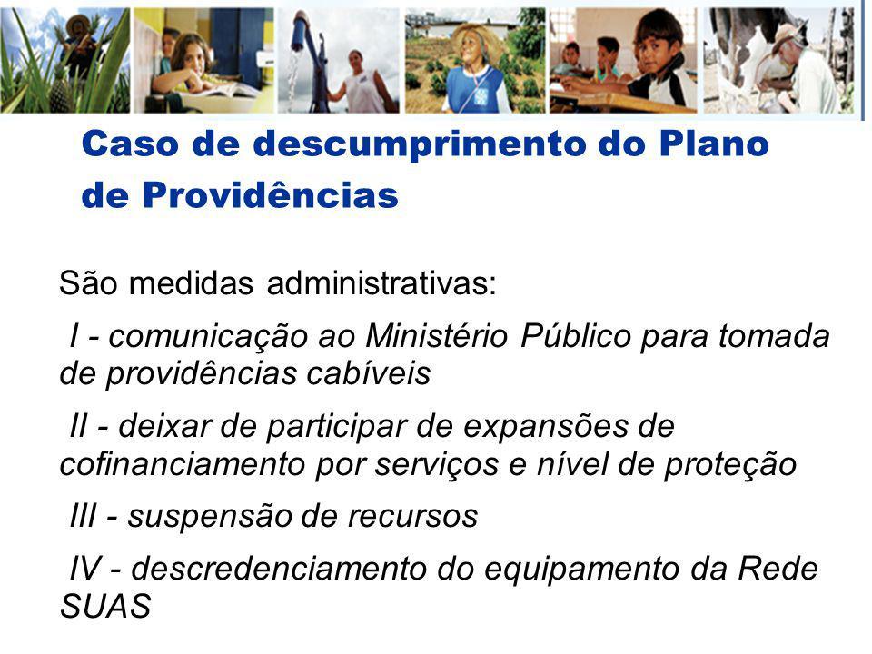 Caso de descumprimento do Plano de Providências São medidas administrativas: I - comunicação ao Ministério Público para tomada de providências cabívei