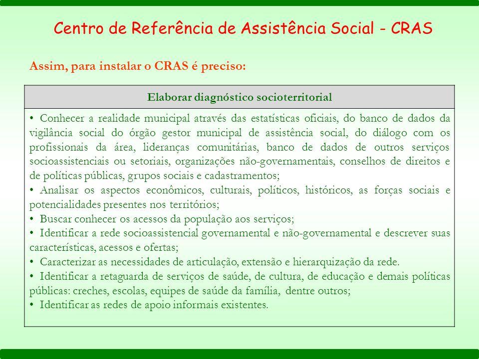 Assim, para instalar o CRAS é preciso: Centro de Referência de Assistência Social - CRAS Elaborar diagnóstico socioterritorial Conhecer a realidade mu