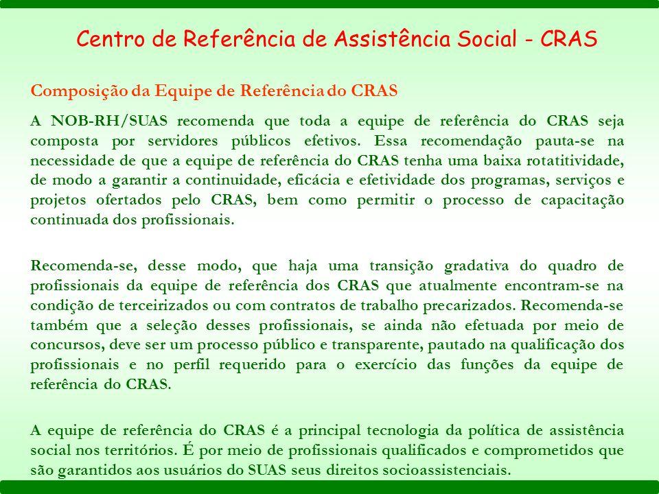 A NOB-RH/SUAS recomenda que toda a equipe de referência do CRAS seja composta por servidores públicos efetivos. Essa recomendação pauta-se na necessid