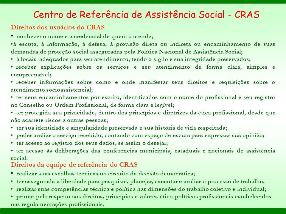 Direitos dos usuários do CRAS conhecer o nome e a credencial de quem o atende; à escuta, à informação, à defesa, à provisão direta ou indireta ou enca