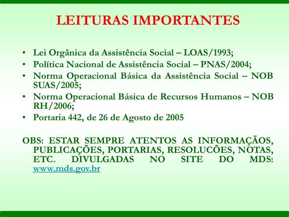 Lei Orgânica da Assistência Social – LOAS/1993; Política Nacional de Assistência Social – PNAS/2004; Norma Operacional Básica da Assistência Social –