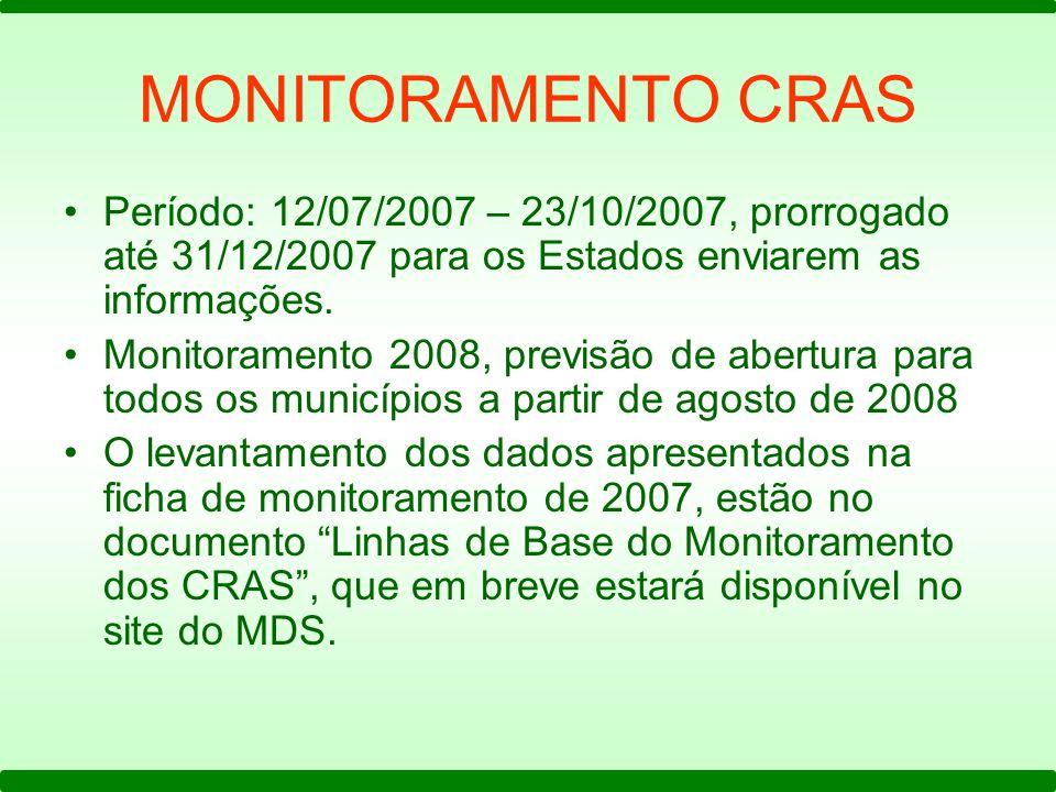 MONITORAMENTO CRAS Período: 12/07/2007 – 23/10/2007, prorrogado até 31/12/2007 para os Estados enviarem as informações. Monitoramento 2008, previsão d