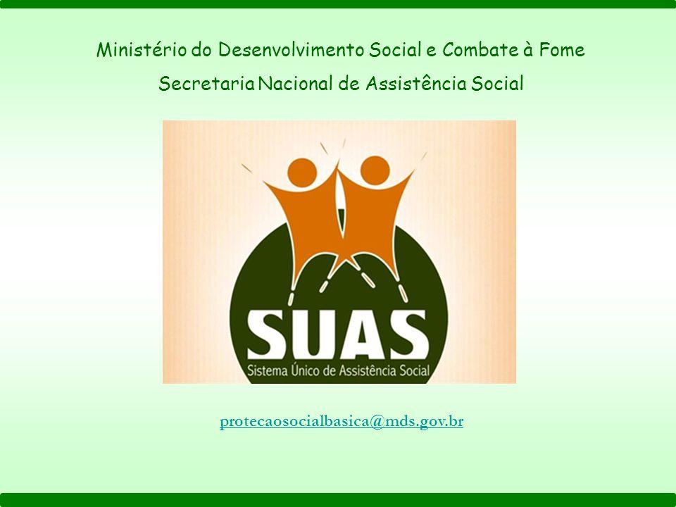 Ministério do Desenvolvimento Social e Combate à Fome Secretaria Nacional de Assistência Social protecaosocialbasica@mds.gov.br
