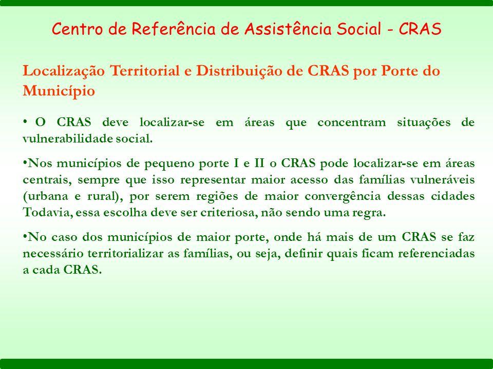 Centro de Referência de Assistência Social - CRAS Localização Territorial e Distribuição de CRAS por Porte do Município O CRAS deve localizar-se em ár