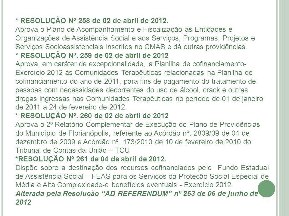 * RESOLUÇÃO Nº 258 de 02 de abril de 2012.