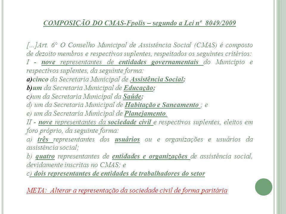 ESTRUTURA E ORGANIZAÇÃO DO CMAS (segundo a Lei 8049/2009) Art.