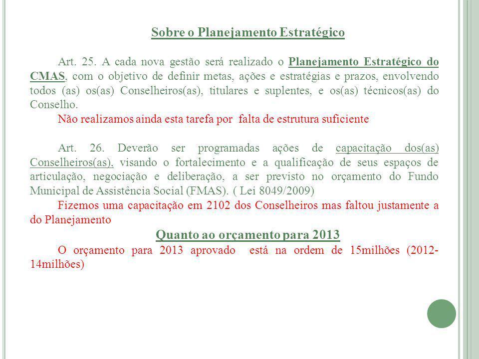 Sobre o Planejamento Estratégico Art.25.
