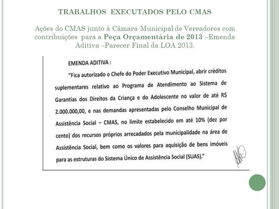 TRABALHOS EXECUTADOS PELO CMAS Ações do CMAS junto à Câmara Municipal de Vereadores com contribuições para a Peça Orçamentária de 2013 –Emenda Aditiva –Parecer Final da LOA 2013.