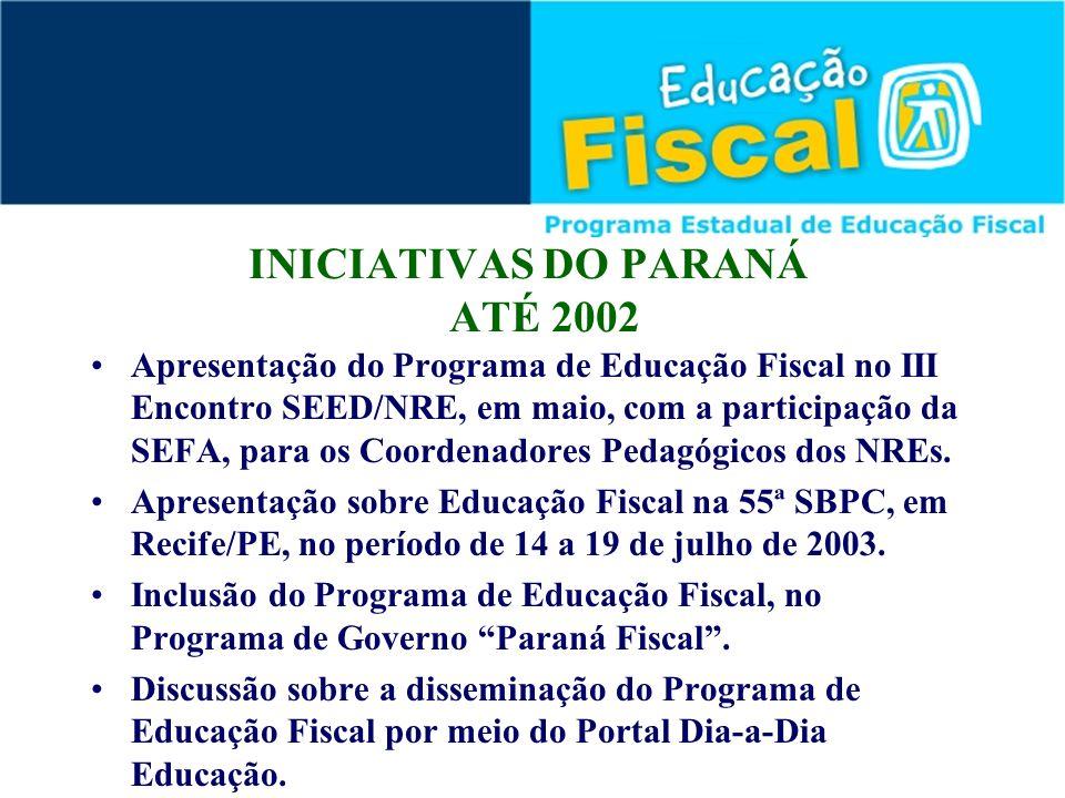 INICIATIVAS DO PARANÁ ATÉ 2002 Apresentação do Programa de Educação Fiscal no III Encontro SEED/NRE, em maio, com a participação da SEFA, para os Coor
