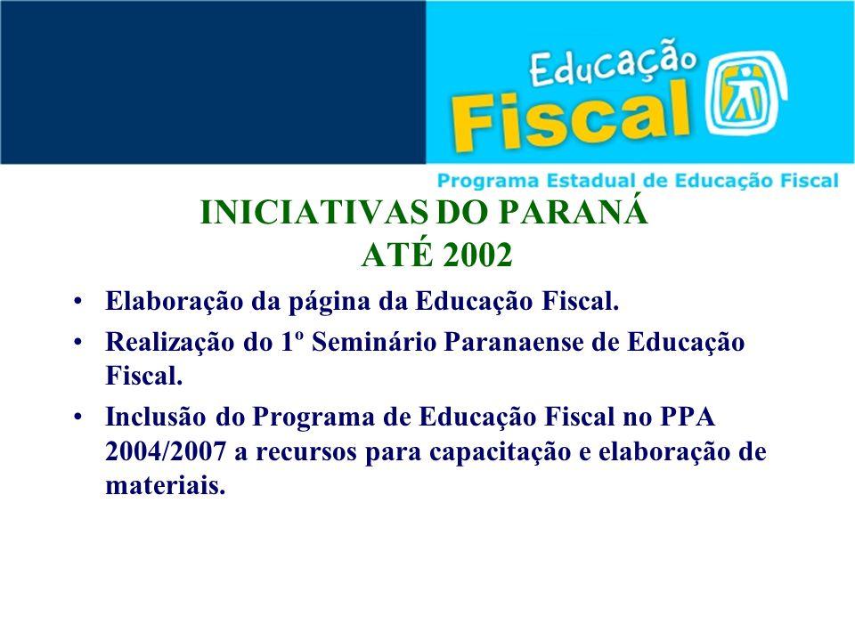 INICIATIVAS DO PARANÁ ATÉ 2002 Elaboração da página da Educação Fiscal. Realização do 1º Seminário Paranaense de Educação Fiscal. Inclusão do Programa