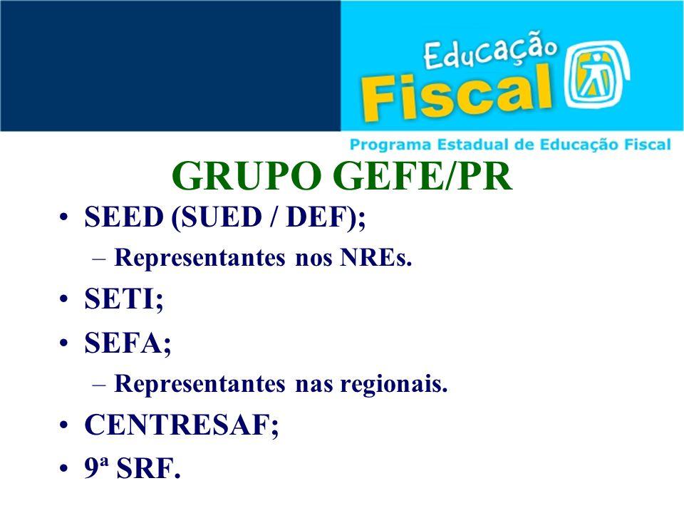 SEED (SUED / DEF); –Representantes nos NREs. SETI; SEFA; –Representantes nas regionais. CENTRESAF; 9ª SRF. GRUPO GEFE/PR