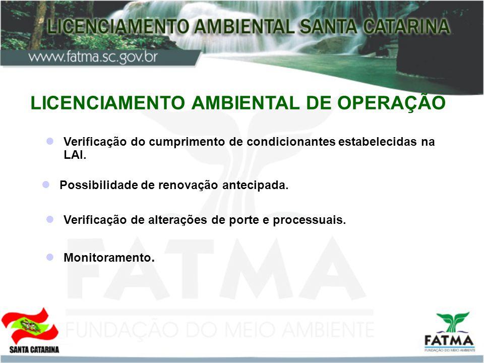 LICENCIAMENTO AMBIENTAL DE OPERAÇÃO Verificação do cumprimento de condicionantes estabelecidas na LAI. Possibilidade de renovação antecipada. Verifica