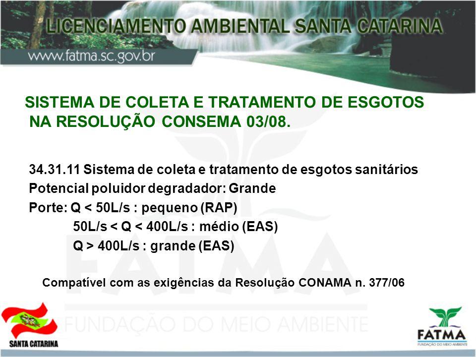 SISTEMA DE COLETA E TRATAMENTO DE ESGOTOS NA RESOLUÇÃO CONSEMA 03/08. 34.31.11 Sistema de coleta e tratamento de esgotos sanitários Potencial poluidor